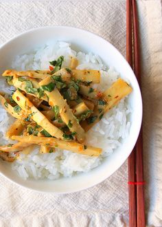 Bamboo shoot sate with rice