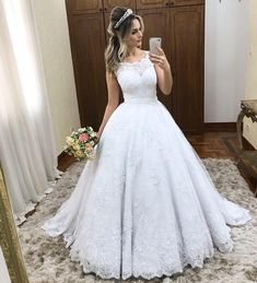 Plus Size Prom Dress, Ball Gown Scoop Sleeveless Sweep/Brush Train Lace Satin Wedding Dresses Shop plus-sized prom dresses for curvy figures and plus-size party dresses. Ball gowns for prom in plus sizes and short plus-sized prom dresses Plus Wedding Dresses, Western Wedding Dresses, Lace Wedding Dress, Formal Dresses For Weddings, Princess Wedding Dresses, Perfect Wedding Dress, Bridal Dresses, Tulle Wedding, Wedding Gowns