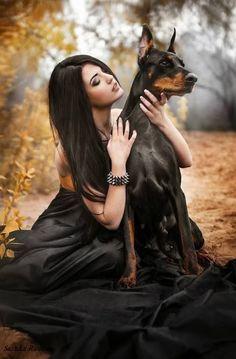 #Doberman dog with lady: