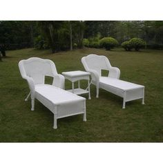 This three-piece outdoor chaise lounge set is a perfect addition to any outdoor or patio setting. This set includes two chairs and a table with a durable powder-coated steel frame and the stylish touch of resin wicker weave.