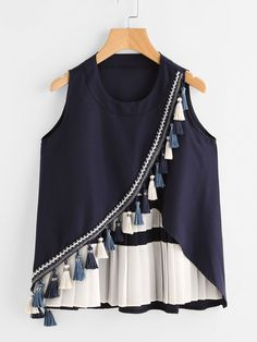 SheIn offers Contrast P… Shop Contrast Panel Tassel Trim Overlap Tank Top online. SheIn offers Contrast Panel Tassel Trim Overlap Tank Top & more to fit your fashionable needs. Indian Fashion Dresses, Girls Fashion Clothes, Teen Fashion Outfits, Fashion Wear, Girl Fashion, Fashion Design, Stylish Dresses For Girls, Stylish Dress Designs, Designs For Dresses