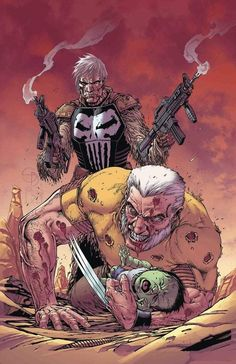 Old Man Logan Annual Shane Davis Cover, Ed Brisson & Ryan Cady Story, Simone Di Meo & Hayden Sherman Pencils, Appearance of Old Man Punisher Marvel Wolverine, Marvel Vs, Marvel Dc Comics, Marvel Heroes, Punisher Comics, Punisher Marvel, Logan Wolverine, Comic Movies, Comic Book Characters