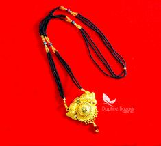 ME50, Daphne Handmade Golden Mangalsutra Necklace With Black Beads , Gift for Wife - Full View