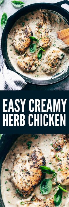 Fast and easy creamy herb chicken takes only 30 minutes to make. This is a delicious recipe that's low on the calories and is creamy but without the heavy cream!