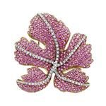 Pink Sapphire and Diamond Leaf Clip-Brooch, David Morris