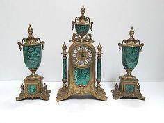 Farbel Imperial Mantle Clock Quartz Porcelain Brass Malachite Finish With Urns