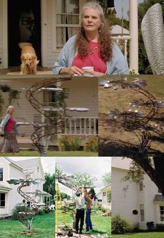 Evan Lewis' Kinetic Wind-Powered Sculptures (as seen in Aunt Meg's house in Twister, Art Nouveau Furniture, Wind Sculptures, Kinetic Art, Wind Spinners, Outdoor Projects, Diy Projects, Outdoor Decor, Wire Art, Garden Styles