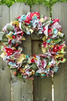 Fabric rag wreath. Love these colors!