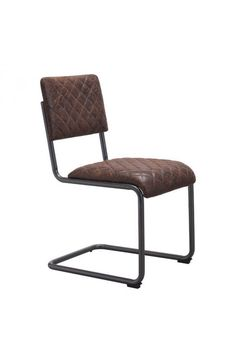 Father Dining Arm Chair - 100402Features: -Color :Vintage BrownProduct Cover (Upholstery Material or Type of Metal) :LeatheretteProduct Finish (Structure Materiel or Type of Wood) :Distressed SteelDimensions :Chair :17.7
