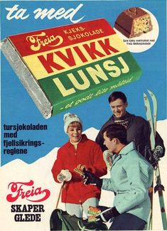 The Norwegian KitKat. In such a healthy and active country as Norway, I find it hard to comprehend that a chocolate bar has such a place in peoples hearts! The Kvikk Lunsj bar is known for its distinctive red, yellow and green wrapper. Ski Posters, Travel Posters, Vintage Ski, Vintage Posters, Chocolates, Norwegian Food, Lost In The Woods, Illustrations, Retro