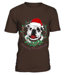 Bulldog Wear Santa Hat Selebrating Merry Christmas Tshirt