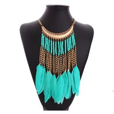 Feather necklace fashion nigerian beads handmade african beads tassel feather necklace boho chic style american indian necklace