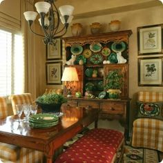 Love the yellow check chairs, the red bench and the green dinnerware