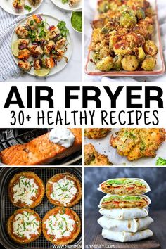 30 of the Best Healthy Air Fryer Recipes for your air fryer machine. Recipes include Keto recipes chicken recipes steak potatoes pork chops shrimp and other ideas to make in your air fryer machine. Air Fryer Recipes Cookbook, Air Fryer Fish Recipes, Air Frier Recipes, Air Fryer Dinner Recipes, Healthy Dinner Recipes, Keto Recipes, Healthy Dinners, Shrimp Recipes, Yummy Healthy Recipes