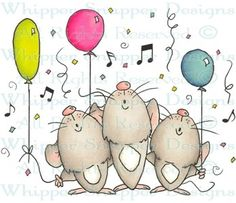 Singing Trio - Birthday Images - Birthday - Rubber Stamps - Shop