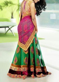 Half Sarees are this season hot debut. want it so badly! Half Saree Designs, Mehndi Designs, Blouse Designs, Ethnic Fashion, Asian Fashion, Saree Fashion, Latest Fashion, Fashion Dresses, Mens Fashion