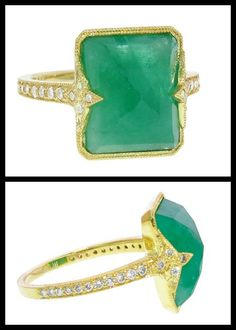 6 carat emerald and diamond Itzela ring in gold by Ila&I. Via Diamonds in the Library.
