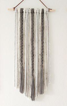 1 Foot Grey Wall Hanging, Gray Wall Hanging, Grey Tapestry, Gray Tapestry, Boho Decor, Yarn Tapestry