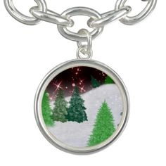 #zazzle #christmas Christmas evergreens on a hill with red sparkling sky.