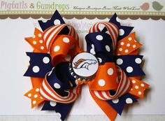 Denver Broncos Bow by pigtailsandgumdrops on Etsy, $10.00