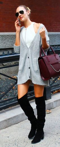 halter dress + oversized sweater + OTK boots