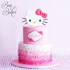 Hello Kitty topper on the Ombré Ruffles Cake