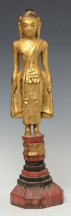 Early 19th C., Burmese Tai Yai Wooden Standing Buddha