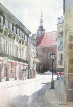 Gli acquarelli urbani di Grzegorz Wrobel #watercolor #illustration