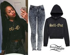 Bahja Rodriguez posted a new instagram photo today wearing a Forever 21 Sell-Out Sweatshirt ($20.00, sold out) with jeans like the Forever 21 High-Waisted Acid Wash Jeans ($27.80).