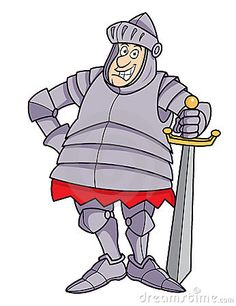 Cartoon plump knight in armor