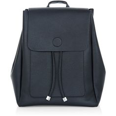New Look Black Leather-Look Backpack (1,200 DOP) ❤ liked on Polyvore featuring bags, backpacks, backpack, black, draw string backpack, vegan leather backpack, fake leather backpack, faux leather rucksack and day pack backpack