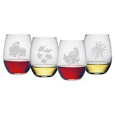 """Set of 4 stemless wine glasses with hand-cut fall-inspired designs. Made in the USA.  Product: 4-Piece stemless wine glass setConstruction Material: GlassColor: ClearFeatures:  Each decoration is sand etched and hand cut into the glass surface by hand in a 110+ year old factory in PennsylvaniaMade and decorated in the USA  21 Ounce capacity each Dimensions: 4.62"""" H x 2.75"""" Diameter eachCleaning and Care: Dishwasher safe"""