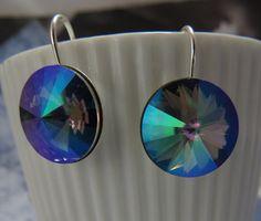 HUGE MYSTIC Crystal Earring Swarovski Faceted by MaChericomau