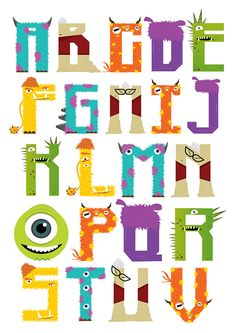 "this is my study project ""monster typography"" inspired by my favourite animation monster inc. and monster university ."