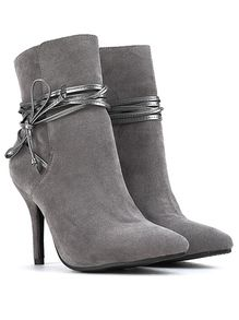 Grey Pointy Strappy Suede Stiletto Boots