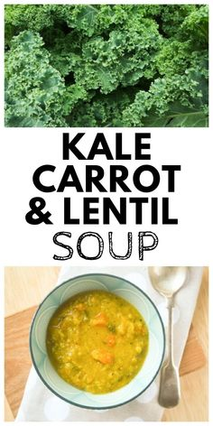 A luxuriously thick and spicy carrot, lentil and kale soup made with red lentils. A hearty meal for lunch or dinner. Keep the leftovers in the fridge or freeze them for another day. Easy Kale Recipes, Fast Dinner Recipes, Raw Vegan Recipes, Vegetarian Recipes, Vegan Meals, Easy Cooking, Healthy Cooking, Cooking Recipes, Healthy Eats