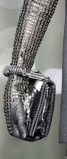 Gloves fashion image by Fantasy Fashion Fanatics on Futuristic Fashion Gloves Fashion, Metal Fashion, Long Gloves, Leather Gloves, Mode Style, Mitten Gloves, Roberto Cavalli, Fashion Handbags, Gray