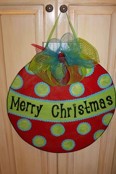 Wooden Ornament Door Hanger | Wood Christmas Ornament Door Hanger by ASouthernCreation on Etsy