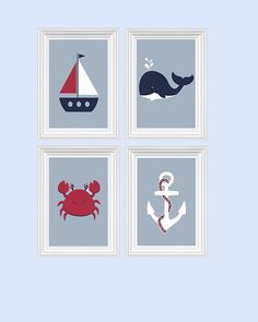 Nautical  Decor Nursery Art Beach Crab Anchor Boat Whale Ocean Red Navy Wall Art Print Set of 4 - 8x10 Kids Room Home Decor Baby's room