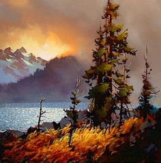 Artist Michael O'Toole,   ooooh, our sunset today would look just like this if it included the trees and lake. =)