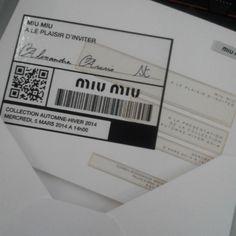 Miu Miu A/W 14. Event invitation