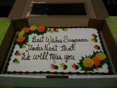 Walmart Employee: 'Hello 'dis Walmarts, how can I help you?' Customer: ' I would like to order a cake for a going away party this week.' Walmart Employee: 'What you want on the cake?' Customer: 'Best Wishes Suzanne' and underneath that 'We will miss you' Walmart Cakes, Cake Disasters, Cant Fix Stupid, Order Cake, People Of Walmart, Stupid People, Funny People, Funny Cake, You Had One Job