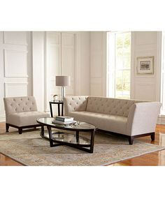 Tufted sofa with flared arms - Tory furniture collection from Macy's