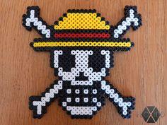 Straw Hat Pirates Skull - Hama beads by floxido on DeviantArt Hama Beads Patterns, Beading Patterns, Little Brothers, Pirate Skull, Cream Flowers, Beaded Skull, Bead Crafts, How To Make Beads, Perler Beads