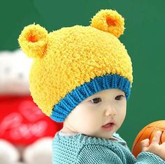 Cute bear beanie hats with ears and tail for baby warm winter knit hat ce058085135c