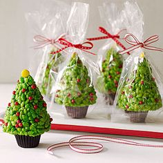Rice Krispies Trees! Use a mini peanut butter cup as the base. So cute!!