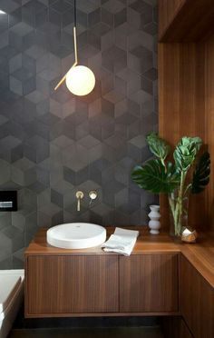 Browse modern bathroom ideas images to bathroom remodel, bathroom tile ideas, bathroom vanity, bathroom inspiration for your bathrooms ideas and bathroom design Read Modern Small Bathrooms, Small Bathroom Tiles, Modern Bathroom Design, Bathroom Interior Design, Modern House Design, Modern Interior Design, Home Design, Bathroom Sinks, Design Ideas