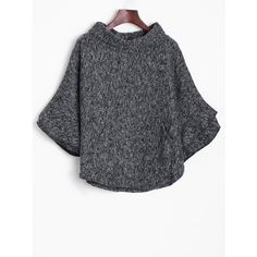 Knitted Turtleneck Poncho Sweater (125 HRK) ❤ liked on Polyvore featuring tops, sweaters, poncho style tops, turtle neck sweater, turtle neck top, turtleneck ponchos and turtleneck top