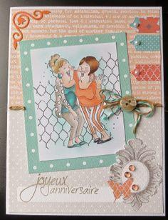 Laughing Set (Sku#4385) Art Impressions Ai Girlfriends card.