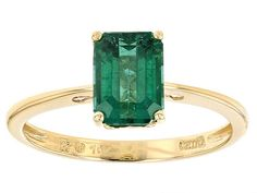 1.53ct Emerald Cut Emerald Color Apatite 10k Yellow Gold Solitaire Ring